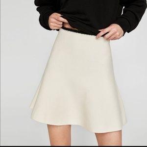 Zara Knit High Waist Fluted Skirt w/ Faux Fur Trim